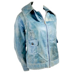 Designer Coated Vintage Denim Jacket W White Rabbit Fur Lining Eclair Zipper