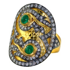 Designer Cocktail 14k Yellow Gold Ring with Diamonds and Emerald