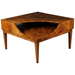 Designer Coffee Table/Corner Table/Lowboard Vintage 1960-1970 Walnut