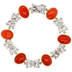 Designer Coral Diamond Gold Bow Link Bracelet
