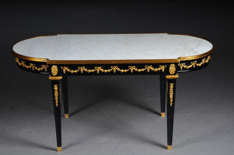 French Designer Couch Table in Louis XVI Black, White Marble For Sale