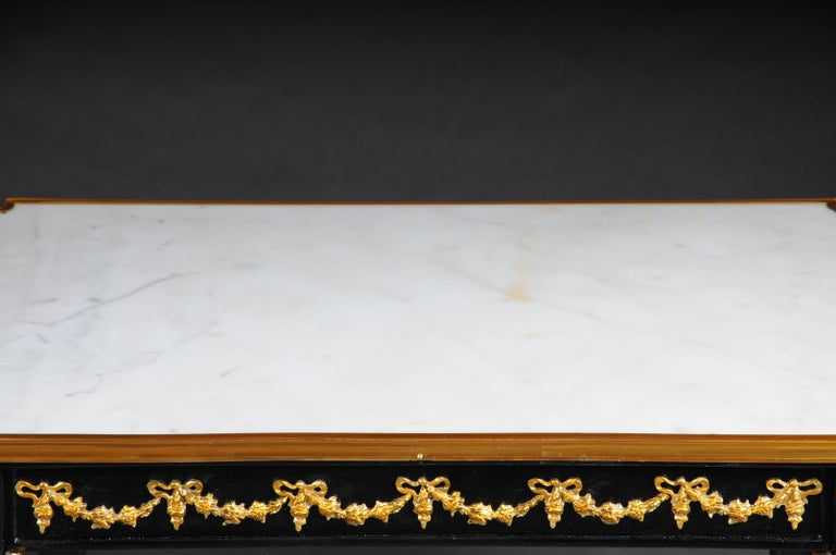 Ebonized Designer Couch Table in Louis XVI Black, White Marble For Sale