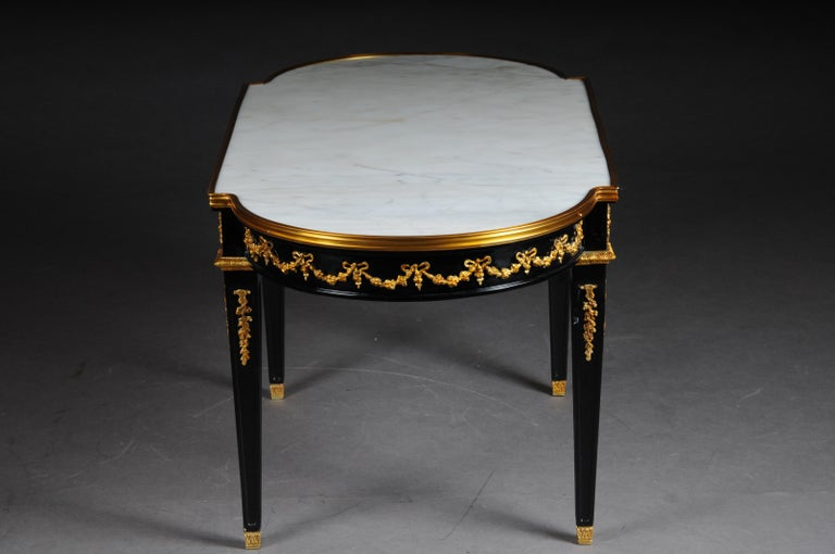 20th Century Designer Couch Table in Louis XVI Black, White Marble For Sale