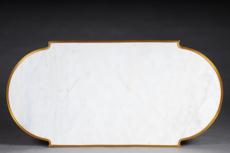 Designer Couch Table in Louis XVI Black, White Marble For Sale 1