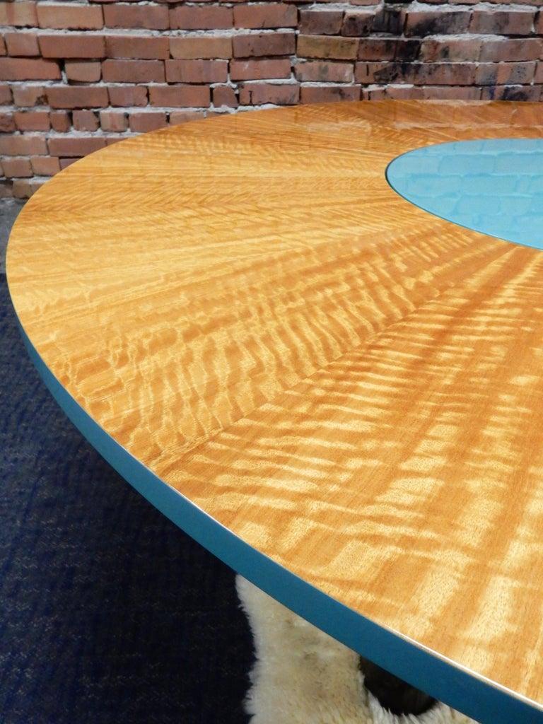 Satinwood Designer Dakota Jackson Postmodern Exotic Wood Dining Table For Sale