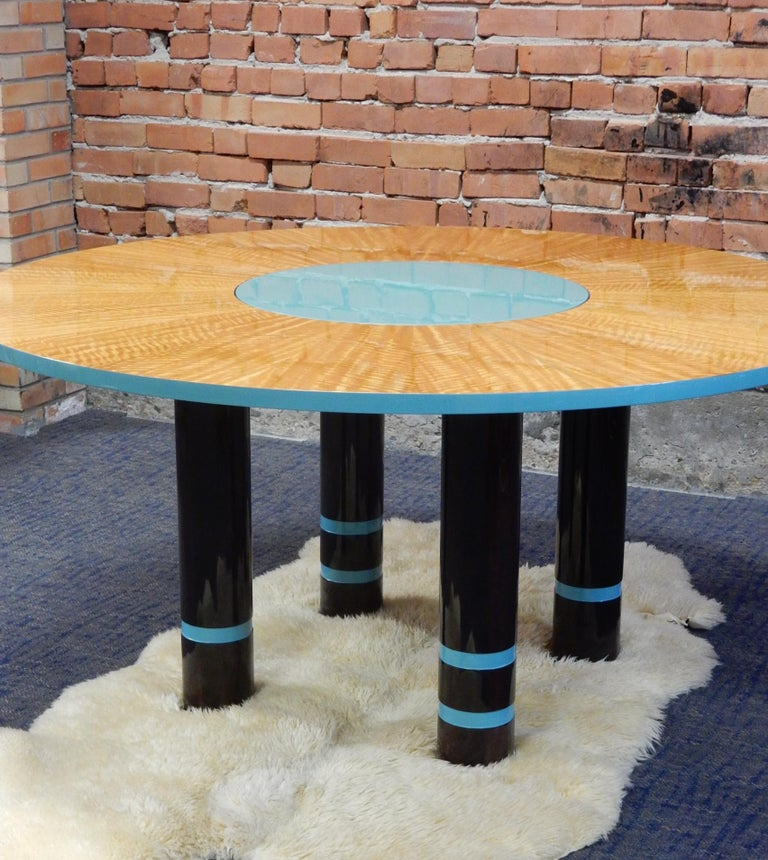 Designer Dakota Jackson Postmodern Exotic Wood Dining Table For Sale 2