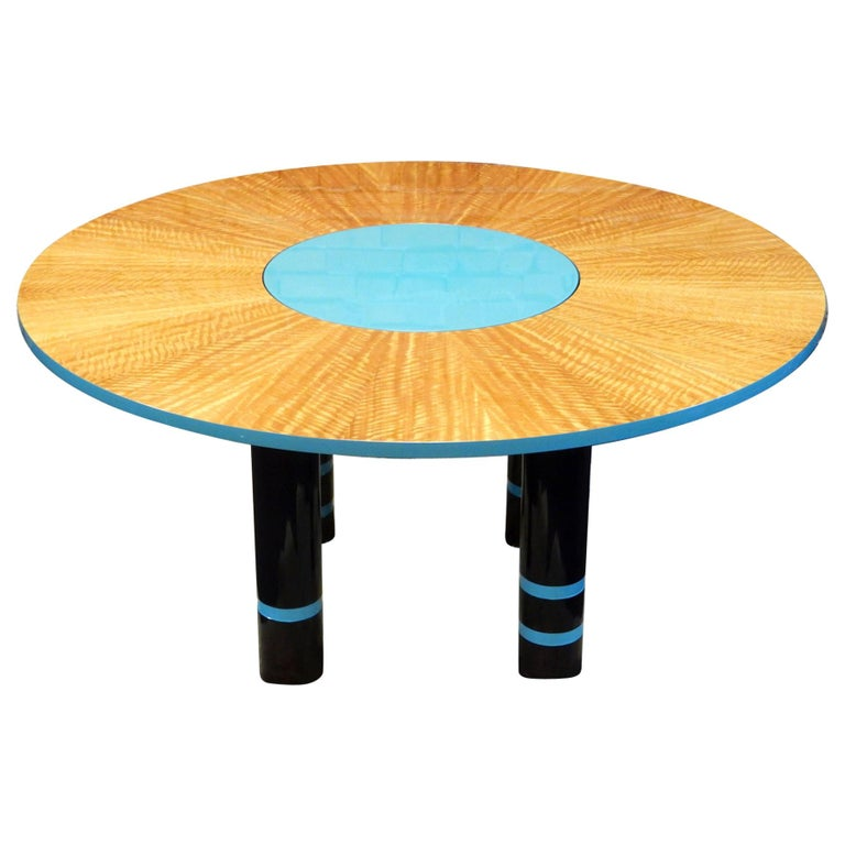 Designer Dakota Jackson Postmodern Exotic Wood Dining Table For Sale