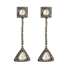 Designer Dangle Earring with Rosecut Diamond Earring in 18k Gold and Silver