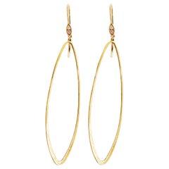 Designer Dangle Earrings, 14 Karat Gold Brush Diamond Design, Oval
