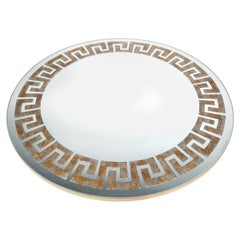 Designer David Marshall Mirror with Gilded Gold and Silver Greek Fret Design