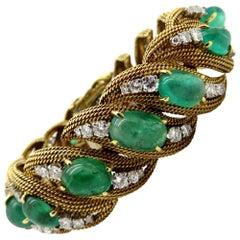 Designer David Webb 18K YG and Platinum 25.00 Carat Emerald and Diamond Bracelet