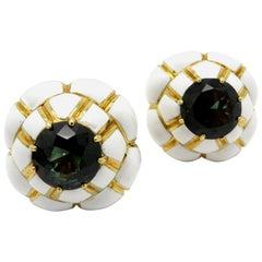 Designer David Webb 8.00 Carat Green Tourmaline White Enamel 18 Karat Earrings