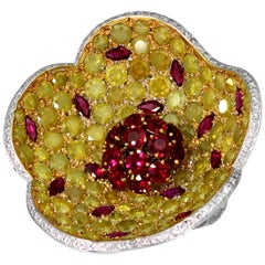 Designer De Grisogono Big Floral Cocktail Ring with Ruby, Yellow & White Diamond