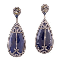 Designer Diamond and Slice Blue Sapphire Dangle Earring in Gold and Silver