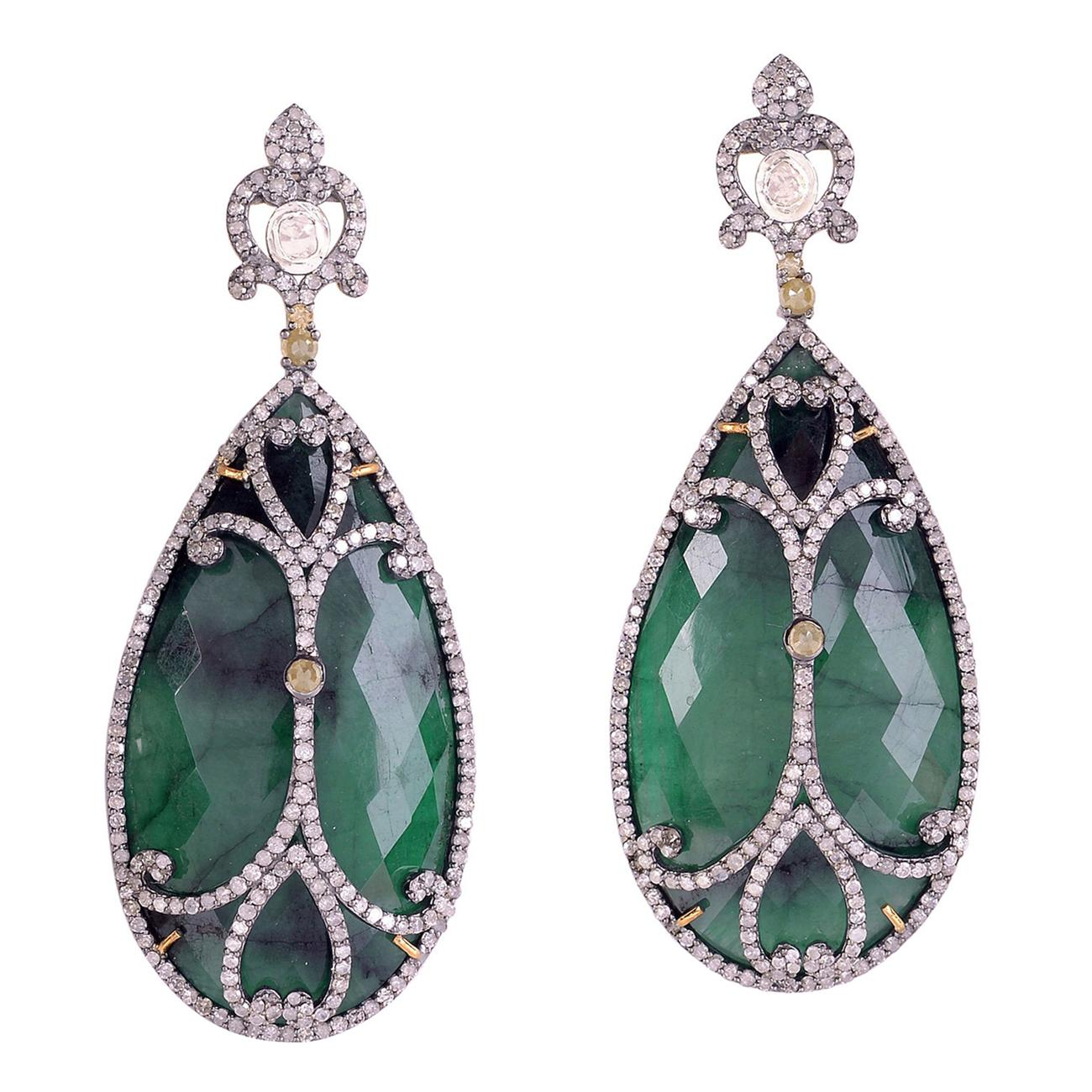 Designer Diamond and Slice Emerald Dangle Earring in Gold and Silver