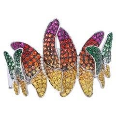Designer Diamond Butterfly Multicolor Sapphire Tsavorite 18K Gold Bangle
