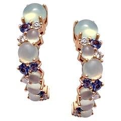 Designer Diamond Sapphire Chalcedony White 18 Karat Gold Small Hoop Earrings