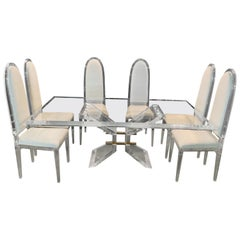 Designer Dining Table Acrylic Plexiglass Solid Dining Room Table with Chairs