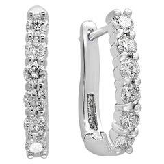 Designer Effy 14 Karat White Gold 1.0 Carat Round Diamond Huggies Hoop Earrings