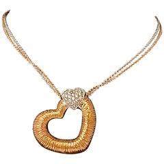 Designer Effy's 0.18 Ct Diamond Heart Necklace 14 Karat Rose & White Gold Chain