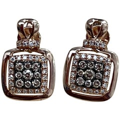 Designer Effy's 0.36 Carat Expresso Diamond Square Stud Earrings 14 Karat Gold