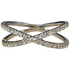 Designer Effy's 0.40 Carat Diamond Cross over Cocktail Ring 14 Karat White Gold