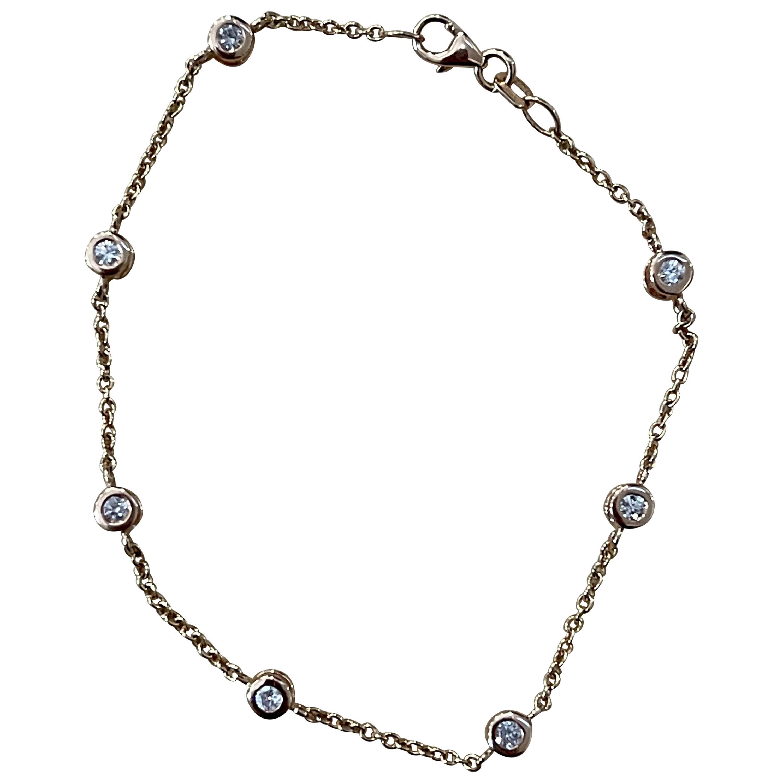 Designer Effy's 0.55 Carat Diamond by Yard Bracelet 14 Karat Rose Gold Chain