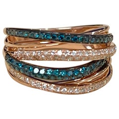 Designer Effy's 0.56 Carat Blue and White Diamond Cocktail Ring 14 Karat Gold