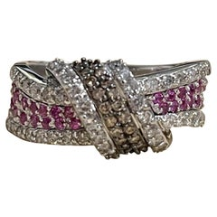 Designer Effy's 0.80 Carat Espresso Diamond and Pink Sapphire Ring 14 Karat Gold