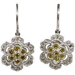 Designer Effy's  0.84 Carat Yellow & White Diamond Hanging Earrings 14 Kt W Gold