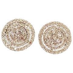 Designer Effy's 1.06 Carat Diamond Stud Post Back Earrings 14 Karat White Gold