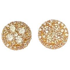 Designer Effy's 1.08 Carat Diamond Stud Post Back Earrings 14 Karat Yellow Gold