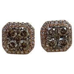 Designer Effy's 1.16 Carat Expresso Diamond Square Stud Earrings 14 Karat Gold