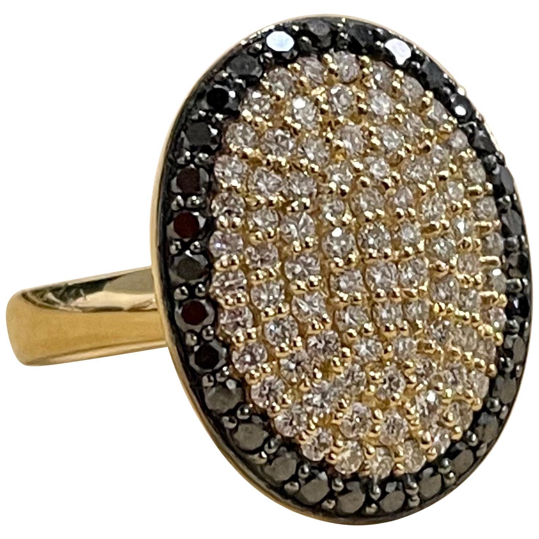 Designer Effy's 1.4 Carat Black and White Diamond Cocktail Ring 14 Karat Gold