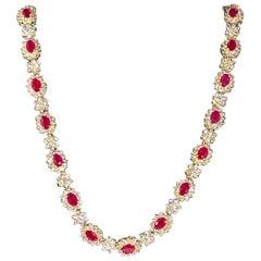 Designer Effy's 14ct Oval Shape Natural Ruby & 11 Ct Diamond Necklace 14KY Gold