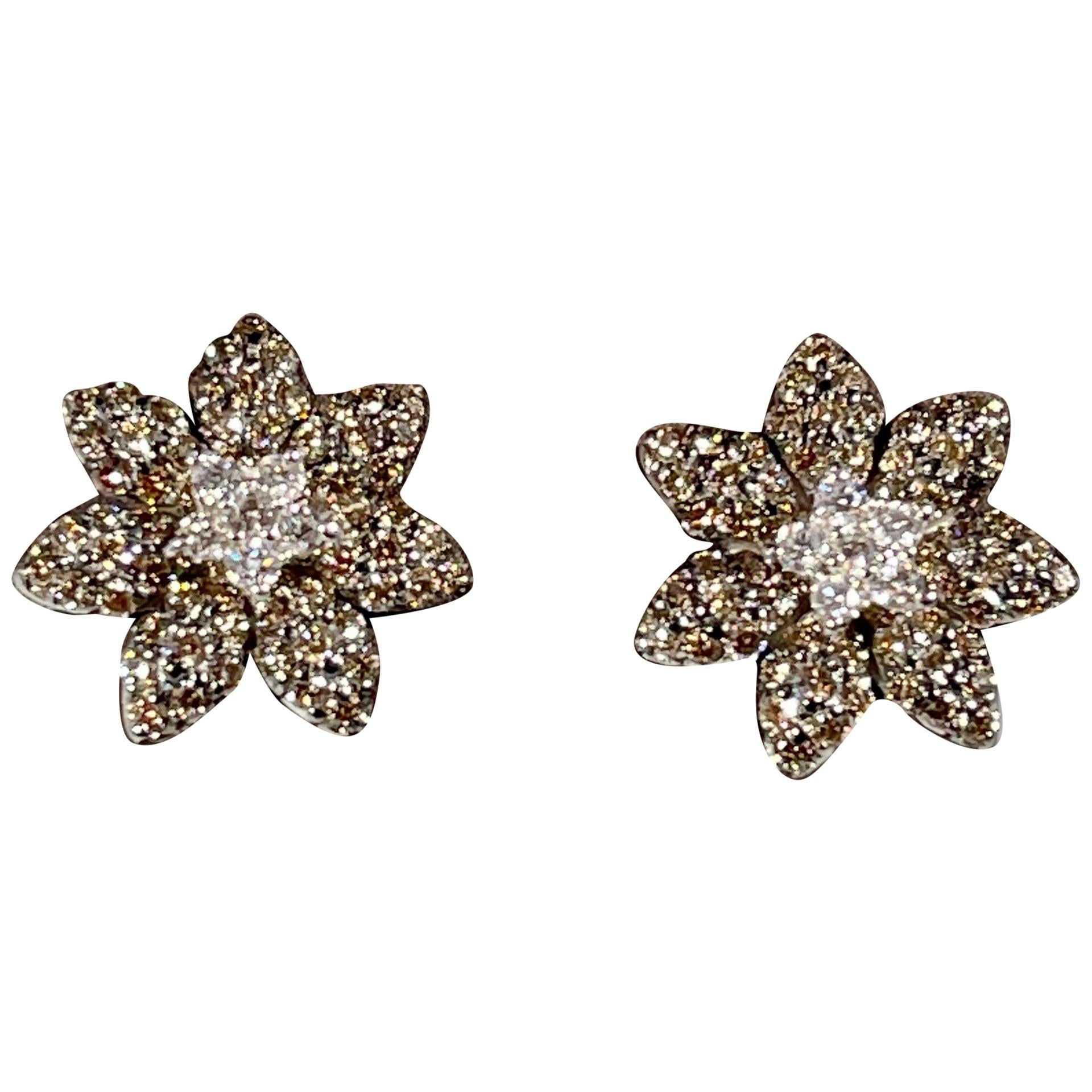 Designer Effy's 1.5 Carat Expresso Diamond Flower Stud Earrings 14 Karat Gold
