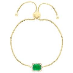 Designer Effy's, 1.5 Carat Natural Emerald 14 Karat Yellow Gold Bracelet Bolero