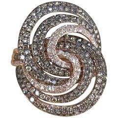 Designer Effy's 1.52 Carat Expresso Diamond Cocktail Ring 14 Karat Rose Gold