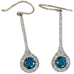 Designer Effy's 1.57 Carat Blue & White Diamond Dangling Earrings 14K White Gold
