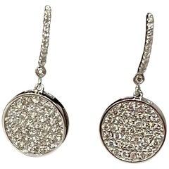 Designer Effy's 1.58 Ct Natural Diamond Dangling Huggies Earrings 14 Karat Gold