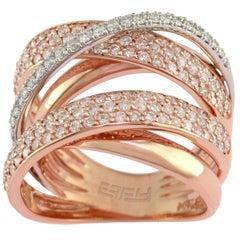 Designer Effy's 1.6 Carat Diamond Cocktail Ring 14 Karat Rose or White Gold Ring