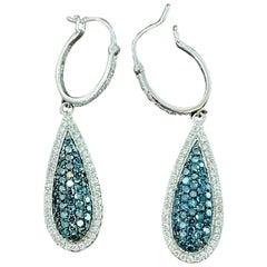Designer Effy's 1.64 Carat Blue & White Diamond Dangling Earrings 14 Karat Gold