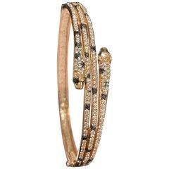 Designer Effy's 1.71 Carat Black and White Diamond 14 Karat Rose Gold Bangle