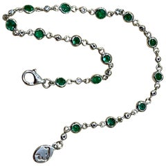 Designer Effy's 1.71 Carat Emerald and Diamond by Yard Bracelet 14 Karat Gold