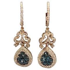 Designer Effy's 1.72 Carat Blue & White Diamond Dangling Earrings 14 K Rose Gold