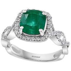 Designer Effy's 1.8 Carat Emerald and Diamond Cocktail Ring 14 Karat White Gold