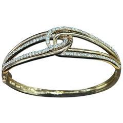 Designer Effy's 1.88 Carat Diamond 14 Karat Rose and Yellow Gold Bangle