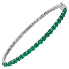 Designer Effy's, 4 Carat Natural Emerald 14 Karat White Gold Bangle