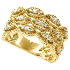 Designer Effy's .51 Carat Diamond Cocktail Ring 14 Karat Yellow Gold Ring
