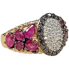 Designer Effy's Black & White Diamond & Natural Ruby Cocktail Ring 14 Karat Gold